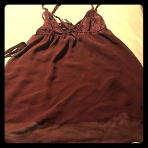 Victoria's Secret maroon chemise with lace cups.